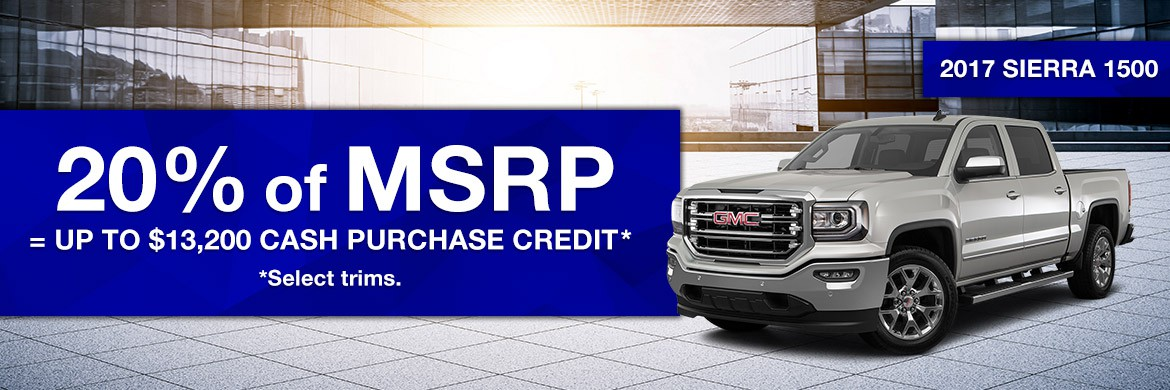 20% of MSRP equals Up to 13200 cash purchase credit *select trims